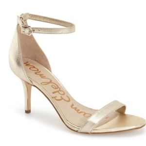 Sam Edelman Gold Ankle strap heel